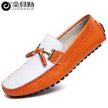 Men Flat Leather Shoes Handmade Slip on Men's Loafers Shoes Man Casual Sapatos Tenis Masculino Size 39-44 Orange White Black