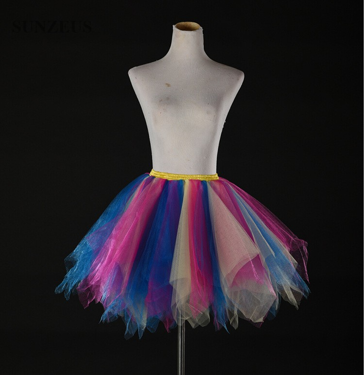 Купить с кэшбэком Colorful Petticoats Tulle Underskirt Short Girls Hoepelrok Puffy Dancing Enaguas Novia Adult Tutu Skirt