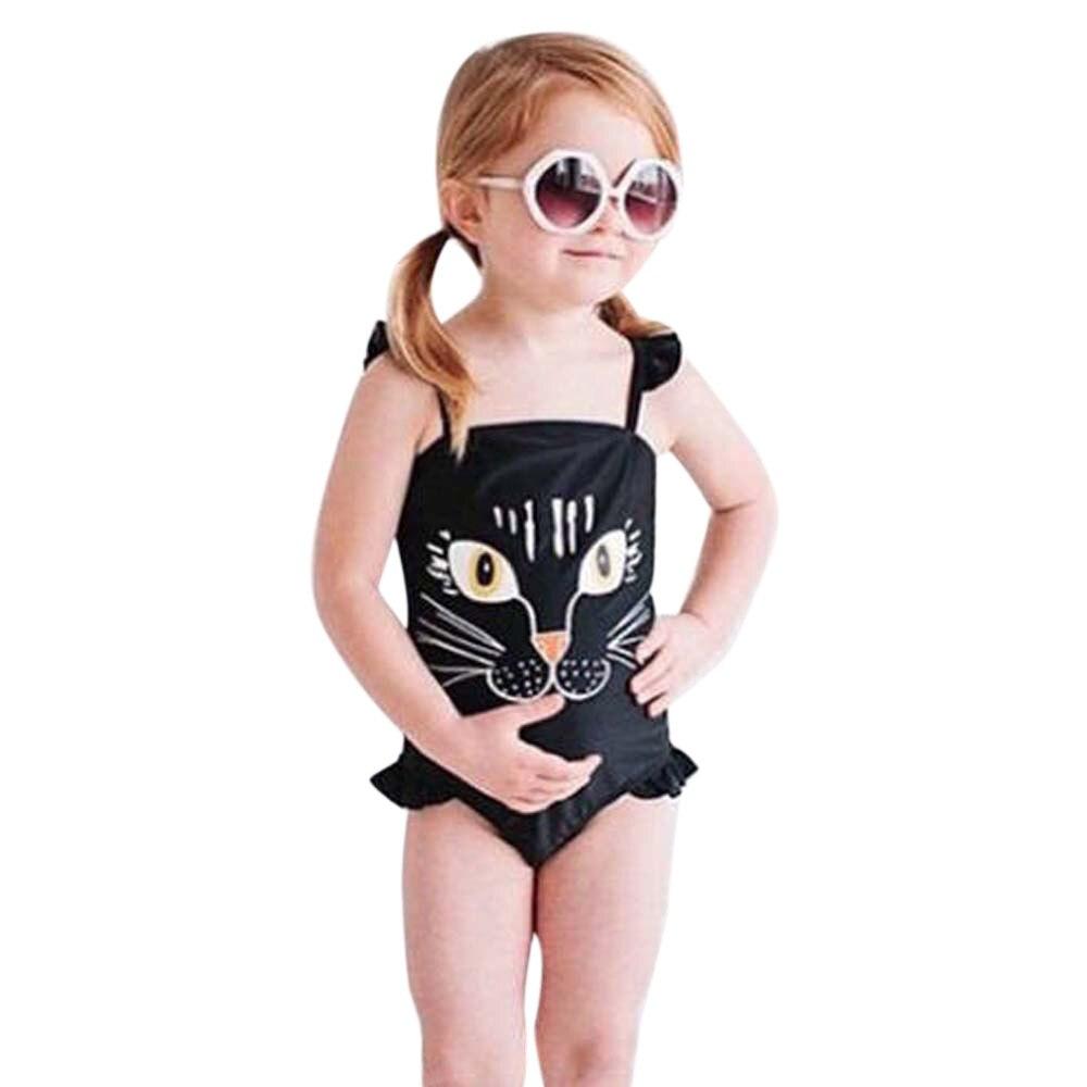 Kids swimwear bikini 2017 swimsuit Toddler swimwear Baby Girls One Piece bathing suit swimsuits Black Cat Print Beachwear May9