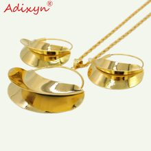 Adixyn PNG Hyperbole Bag Necklace/Earrings/Pendant Jewelry Set For Women Gold Color/Copper African/Ethiopian Party Gifts N11012(China)