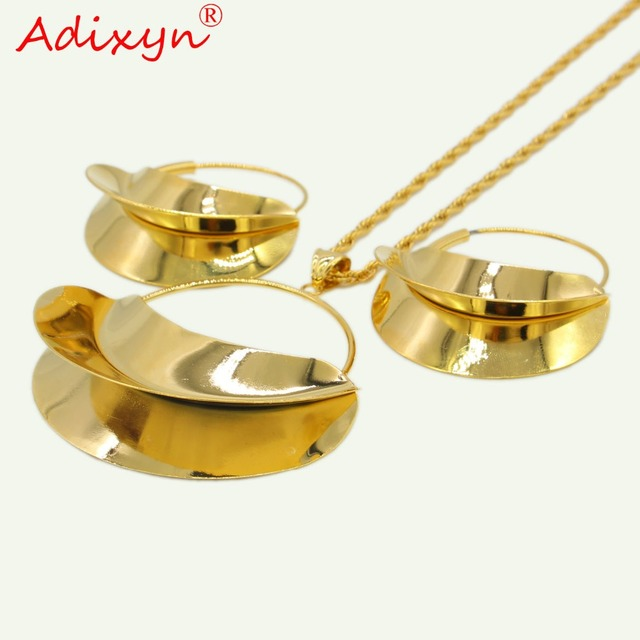 Adixyn PNG Hyperbole Bag Necklace/Earrings/Pendant Jewelry Set For Women Gold Color/Copper African/Ethiopian Party Gifts N11012