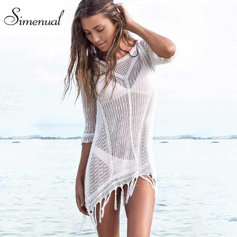 5dc6d08f173f Borla sexy vestido de verano de punto de baño 2016 sólido slim blanco playa  salida mini vestidos flecos hueco pareos