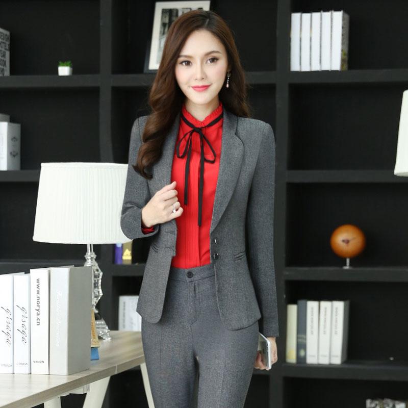 8716201fc9016f Novelty Grey Professional Office Ladies Work Wear Blazers Jackets ...