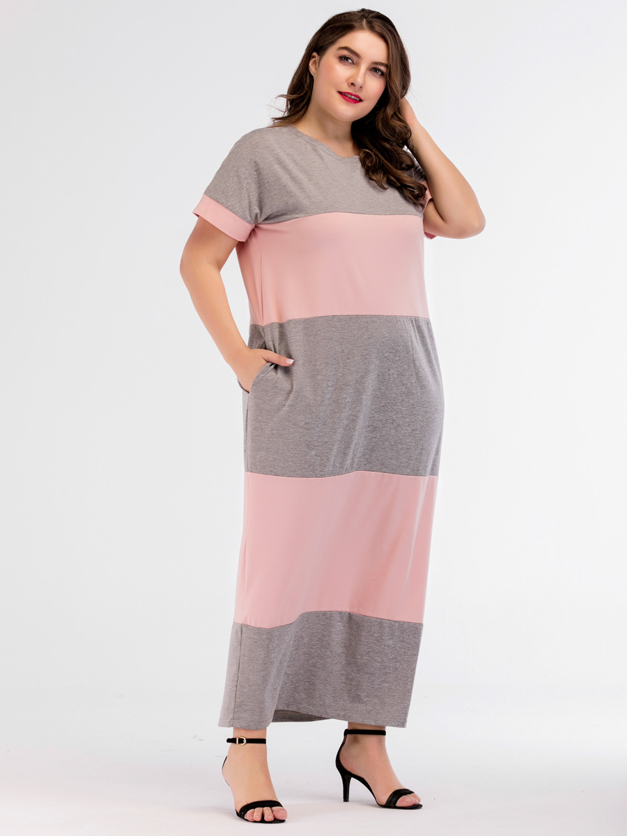 Plus Size Lingerie Maxi Dress for Women Short Sleeve Patchwork Biger Size Sleepwear Dress Homewear Nightdress Elegant Nightwear 1