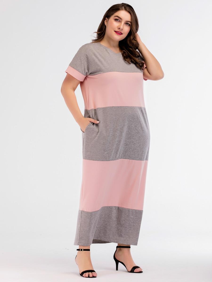 Plus Size Lingerie Maxi Dress for Women Short Sleeve Patchwork Biger Size Sleepwear Dress Homewear Nightdress Elegant Nightwear 1