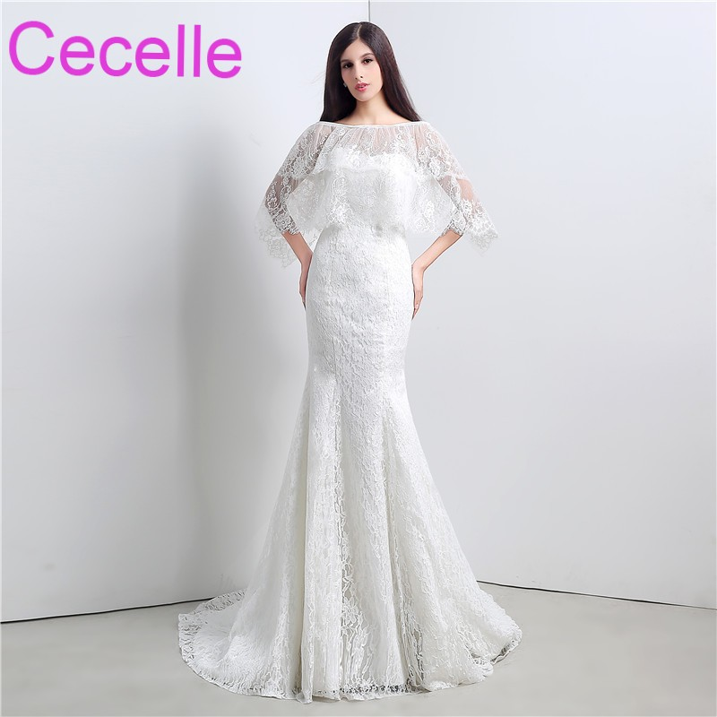 Mermaid Lace Long Wedding Dresses 2018 With Cape Vintage Simple ...