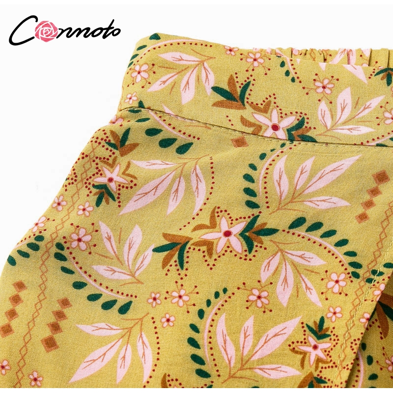 Conmoto Casual High Waist Wide Leg Pants Women 19 Summer Beach Split Trousers Female Holiday Vintage Floral Prints Capris 11