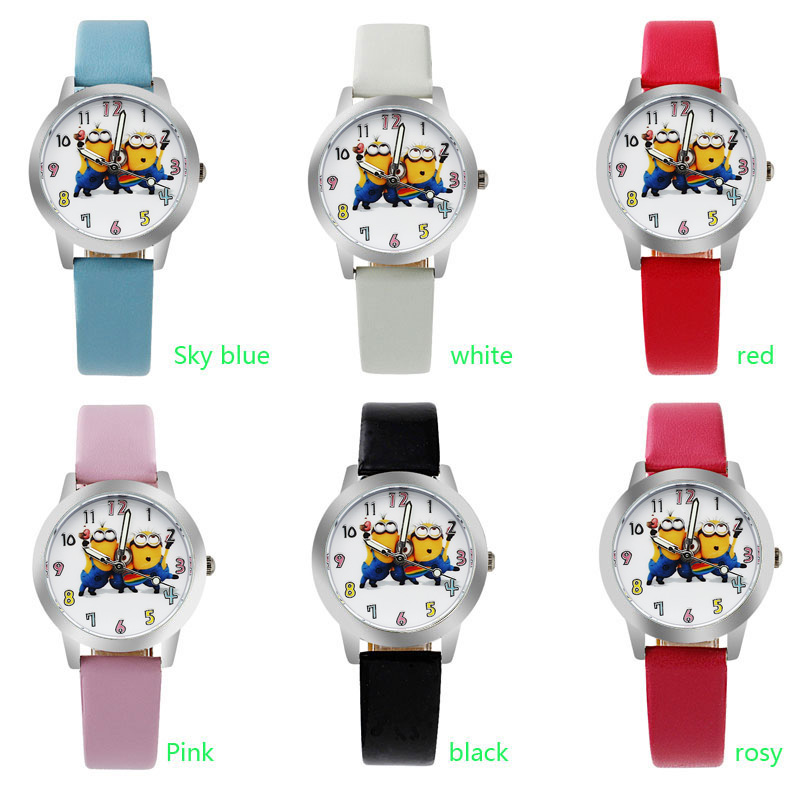 o1 NEW Cartoon  despicable me  minion Wrist watch kids children cartoon quartz leather watches christmas gift 2016 new fashion novelty despicable me kids cartoon backpacks children minion school bag boy girl mochilas