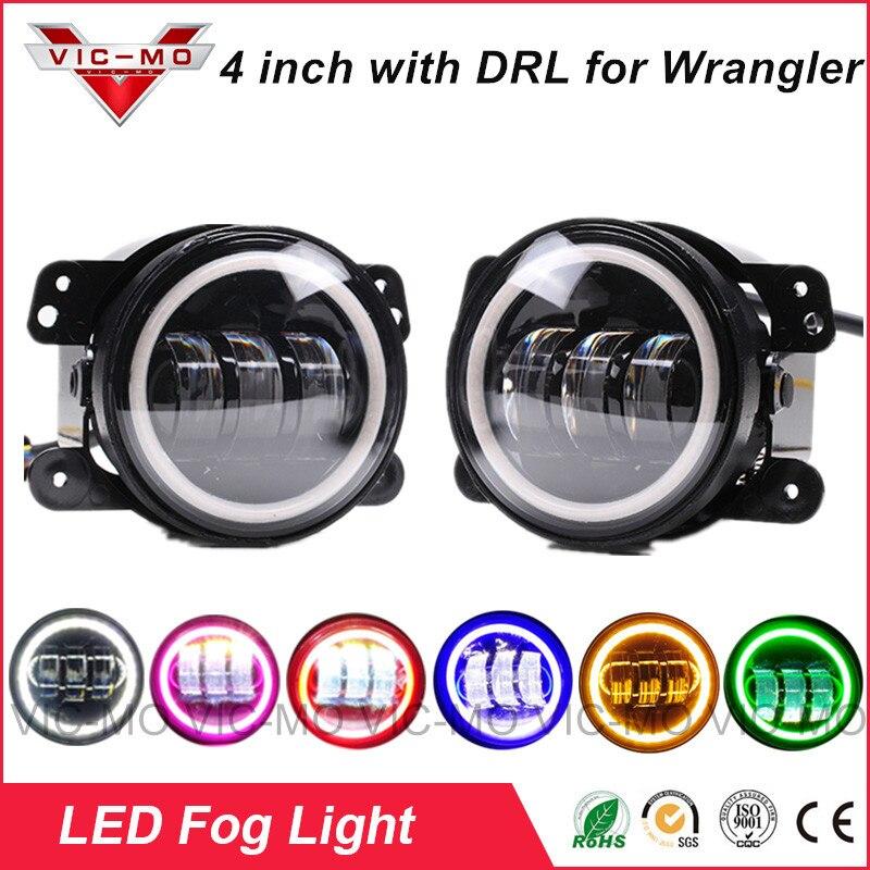 4inch Round Led Fog Lights 30W 6500K White Halo Ring DRL Off Road Fog Lamps For Jeep Wrangler JK TJ LJ Grand Cherokee