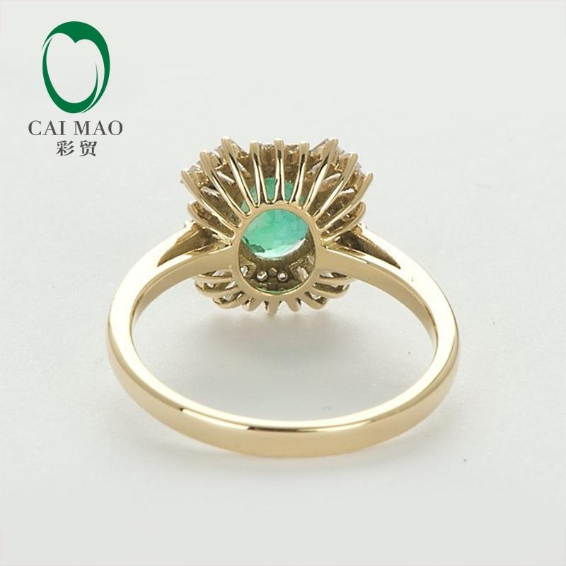 Caimao 14kt Yellow Gold Natural 1.21ct Emerald Round dan Baguette - Perhiasan bagus - Foto 5