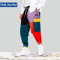 Hip Hip Streetwear Men's Color Block Joggers Pants 2019 Men Corduroy Pant Trousers Elastic Waist Harem Patchwork Pant Men HA037