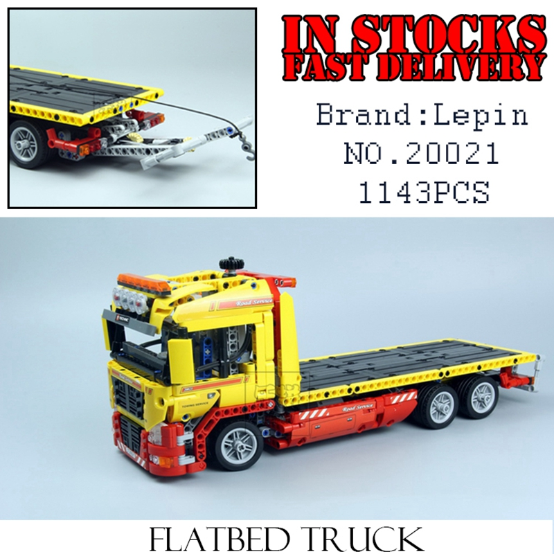LEPIN Technic 20021 1143pcs Flatbed trailer car-styling Building blocks Bricks Educational toys for children car Compatible 8109 city airport vip private plane blocks bricks building technic christmas toys for children compatible with legoeinglys lepin 8911