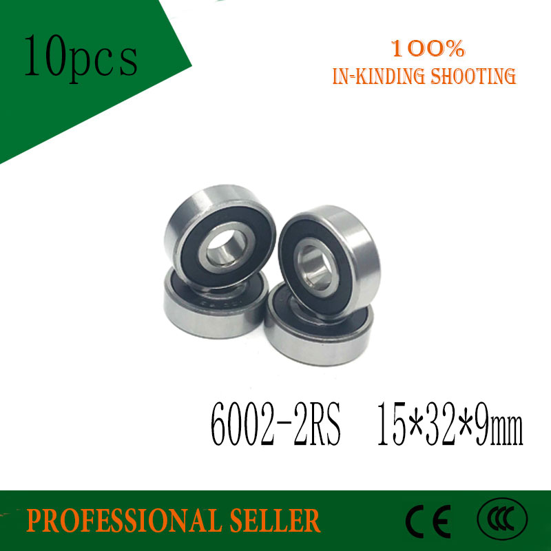 Free Shipping 10PCS High Quality  6002-2RS Ball Bearing 6002 2RS 15x32x9 Mm Deep Groove Ball Bearings 6002RS