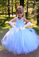2 12 year Girl Performance Clothes Cinderella Dress Cinderella Costume Light blue Princess Girl Tutu dress for Halloween PT310