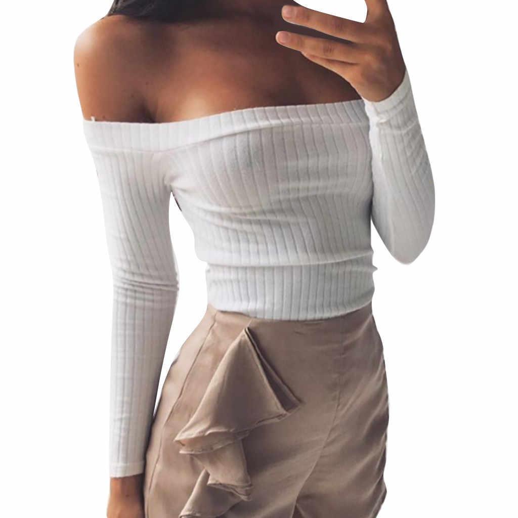 ファッション女性のセクシーなオフショルダー長袖ストライプショート固体 Tシャツ韓国パンク Tシャツ Camiseta Feminina