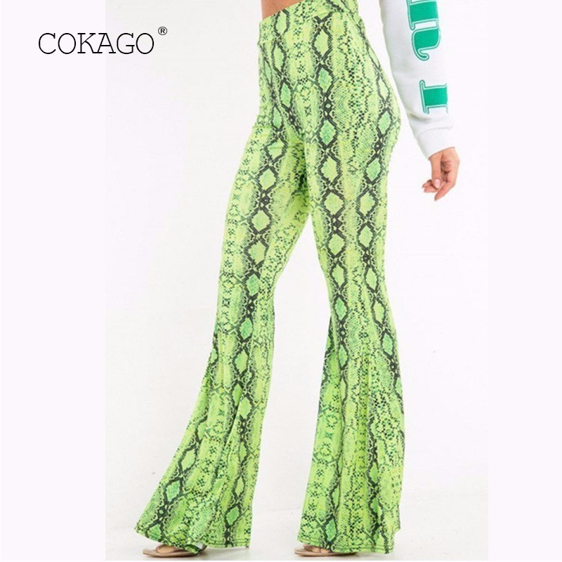 COKAGO Snake Skin Print Women's Flare Pants 2019 Loose Elastic Casual Green High Waist Long Pants Women Sexy Club Woman Trousers