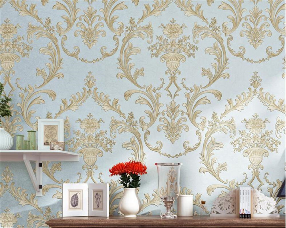 Beibehang European Luxury Deep embossed 3D Wallpaper Flocking Non-woven Wallpaper Roll,Living Room TV Wall Paper Roll flower free shipping european fashion woven wallpaper roll flocking glitter damask wall paper for living room