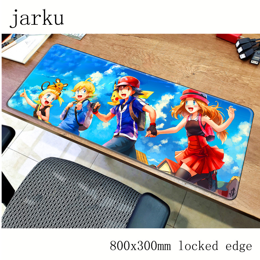 Pokemons mouse pad 800x300X2MM mouse mat laptop padmouse locked edge notbook computer gaming mousepad cute gamer play mats 5