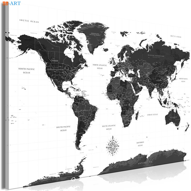 Black And White World Map Pictures