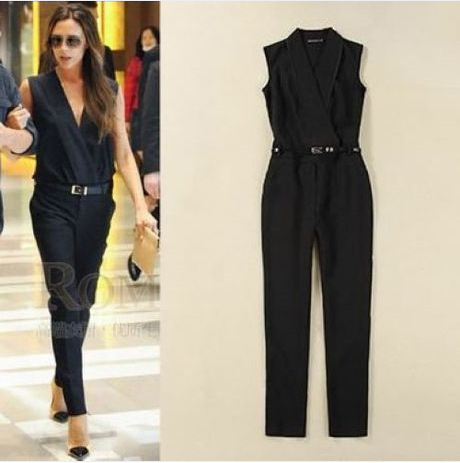 87dfdfedc317 2014 Summer New Casual Rompers Womens Jumpsuit Victoria Beckham Same Design  Sleeveless deep V neck Jumpsuit Romper with Belt