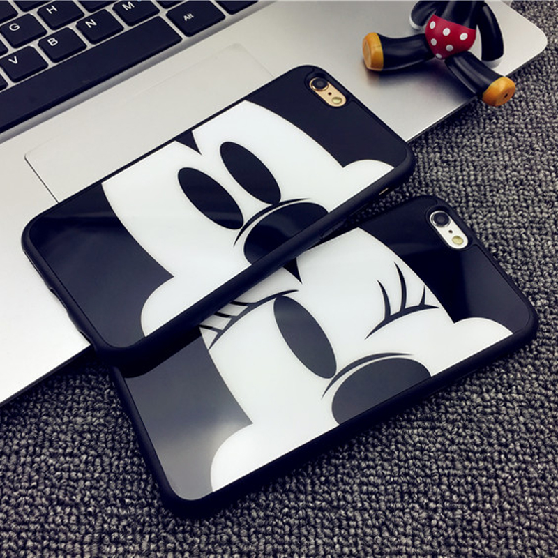 100 pcs Wholesale Lovers Mickey Minnie case cover For Coque iPhone 5 5s se 6 6s 6plus 6splus 7 7plus Cases Carcasa TPU Silicone