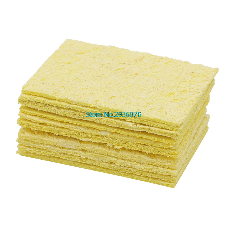 10pcs Soldering Iron Solder Tip Welding Cleaning Sponge Yellow Iron Cleaner GA