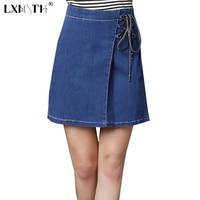 3XL 4XL Spring Summer Denim Skirt Women Lace Up Mini Skirt Jeans High Waist Women A