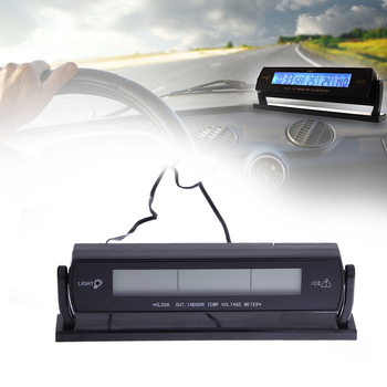 3 em 1 Multi Função Carro Auto Termômetro Digital Voltímetro Volt Tester Temperatura Ao Ar Livre Indoor LCD Backlight Alarm Clock