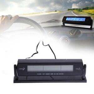 3 in 1 Multi Function Car Digital Auto Thermometer Voltmeter Alarm Clock Volt Temperature Tester Outdoor Indoor LCD Backlight