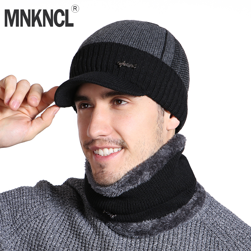 MNKNCL Unisex   Skullies     Beanies   Hat Fashion Winter Hat For Men Women Winter   Beanie   Wool Scarf Cap Warm Thick Visor Knitted Hats