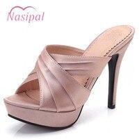 Nasipal 12cm/9cm Thin High Heel Women Sandals Sexy 2018 Women Shoes Plus Size 33 43 Black Slip on Flip Flop Woman Shoes M205