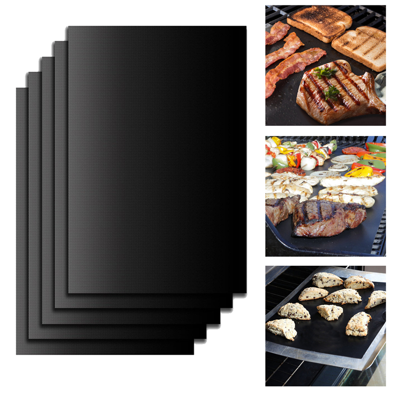 TTLIFE New 5Pcs BBQ Grill Mats barbecue pad Reusable NON-Stick Surface Hot Plate Mat Baking Easy Clean Grilling