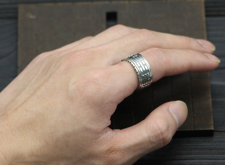 S925 silver retro ring gold and silver color transfer gossip Mens Ring
