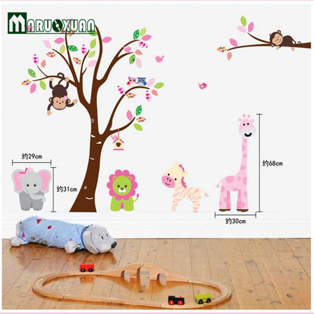 Cute Jungle Animals Tree Monkey Wall Sticker For Kids Rooms Child Diy  Stickers Wall Art Decals