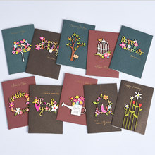 1pcs Handmade Thank You Card Cute Happy Birthday Greeting Cards with Wooden Decoration Sweet Greeting(China)