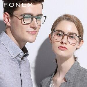 Image 2 - Fonex Titanium Acetaat Optische Brilmontuur Mannen Bijziendheid Recept Brillen Vrouwen Ultralight Transparante Eyewear 9131