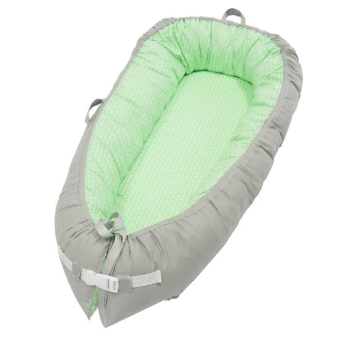 Разборные Детские гнезда кровать или малыша Размер гнезда, мята и совы, портативная кроватка, co спальное место babynest для новорожденных и малышей - Цвет: Green grid