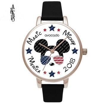 Nowy Minnie mouse American flag gwiazdy i paski cartoon drukowane zegarki na rękę dla dzieci dla kobiet kobiet panie dziewczyna zegar prezent