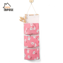 Snailhouse  Cotton Linen Hanging Storage Bag 3 Pockets Wall Mounted Wardrobe Hang Pouch Cosmetic Toys Organizer