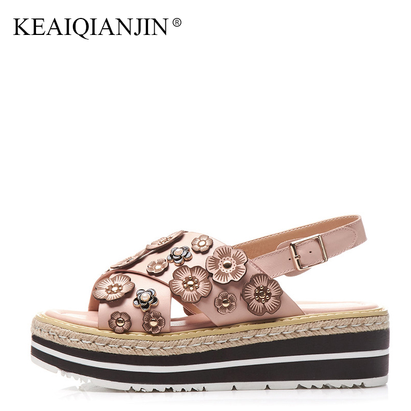 KEAIQIANJIN Woman Genuine Leather Peep Toe Flower Sandal Fashion Pink High Heels Shoes Summer Open Toe Wedges White sandals 2018 summer 2016 nigerian shoes and matching bags pink leather high heels fringed peep toe sandals eur33 43 womens dress shoes chunky
