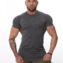 New Men Short Sleeve Cotton t-shirt Summer Casual Fashion Gyms Fitness Bodybuilding large T shirt Male Slim Tees Tops Clothing