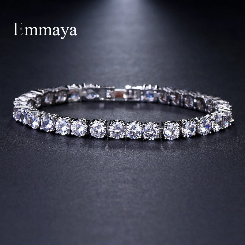 Emmaya Brand Luxury Classic AAA Cubic Zircon Two Colors Round Fashion Bracelets For Woman Popular Wedding Party Birthday Gift