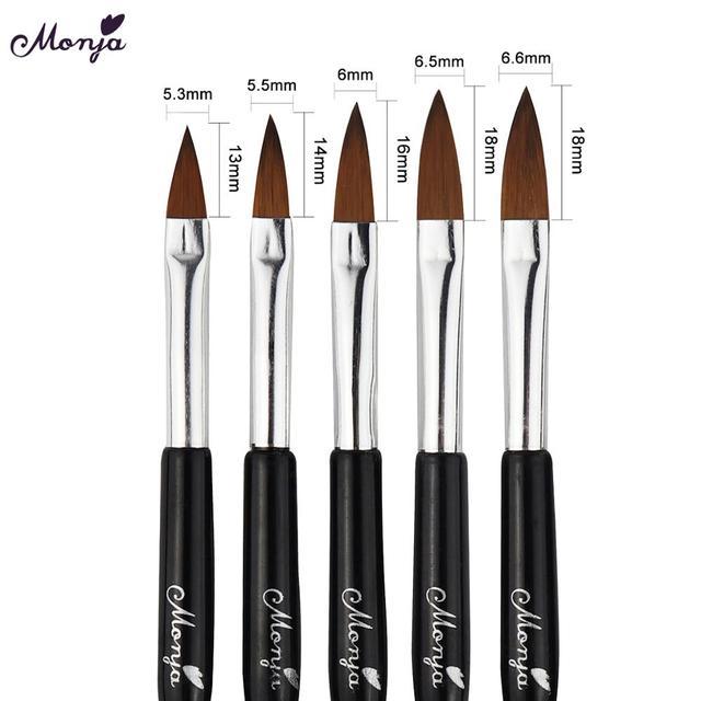 Monja Nail Art Brush Acrylic Liquid Powder UV Gel Nail Polish Brush Flower Painting Pen Manicure Tool 3
