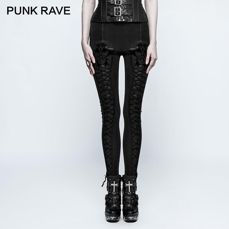 PUNK RAVE Gothic Flocking Thickened Female Slim Fit Leggings Steampunk Vintage Stripe Leather Pants Women Winter