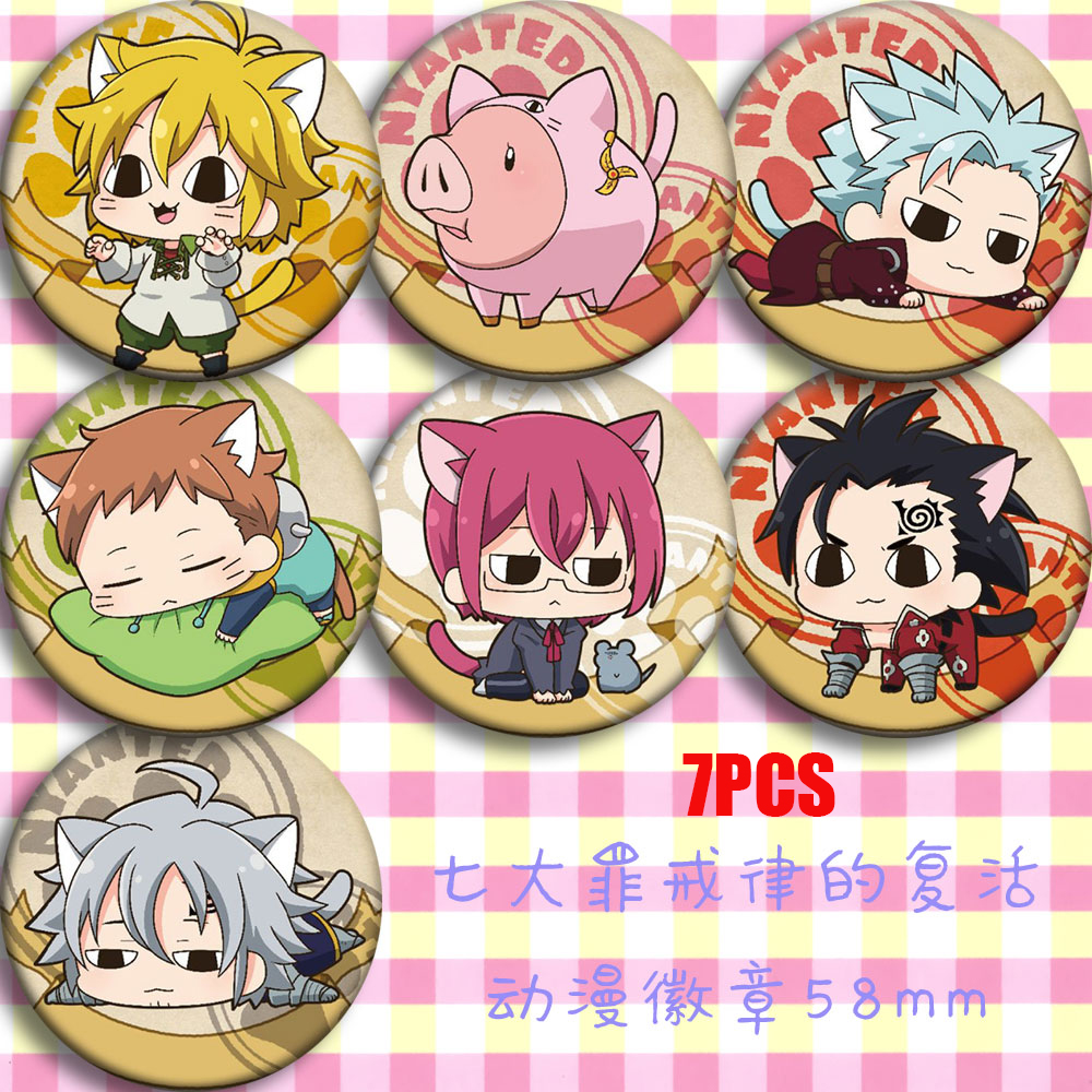 Japan Anime The Seven Deadly Sins Nanatsu No Taizai Cosplay Party Bedge Cartoon Collect Bag Badge For Backpack Button Brooch Pin