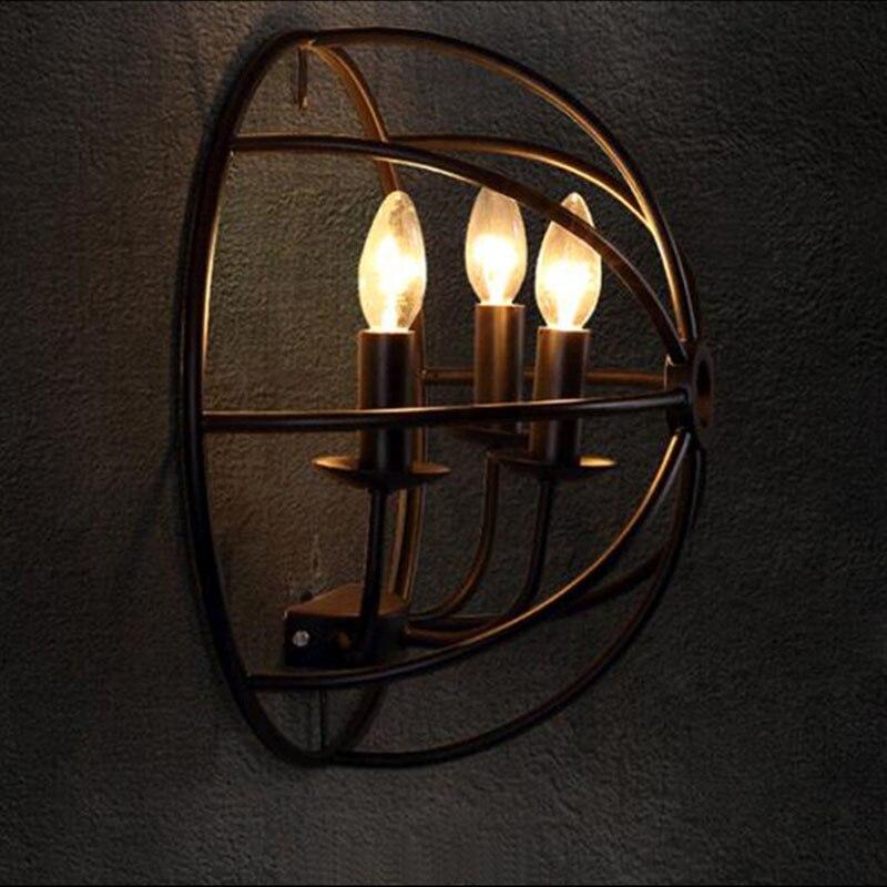 Stile industriale lampada Da Parete Comodino Americano luci Con E14 Led Candela Lampadine Creativo Turtle Shell Lampada Da Parete per Corridoio Cafe Bar - 4