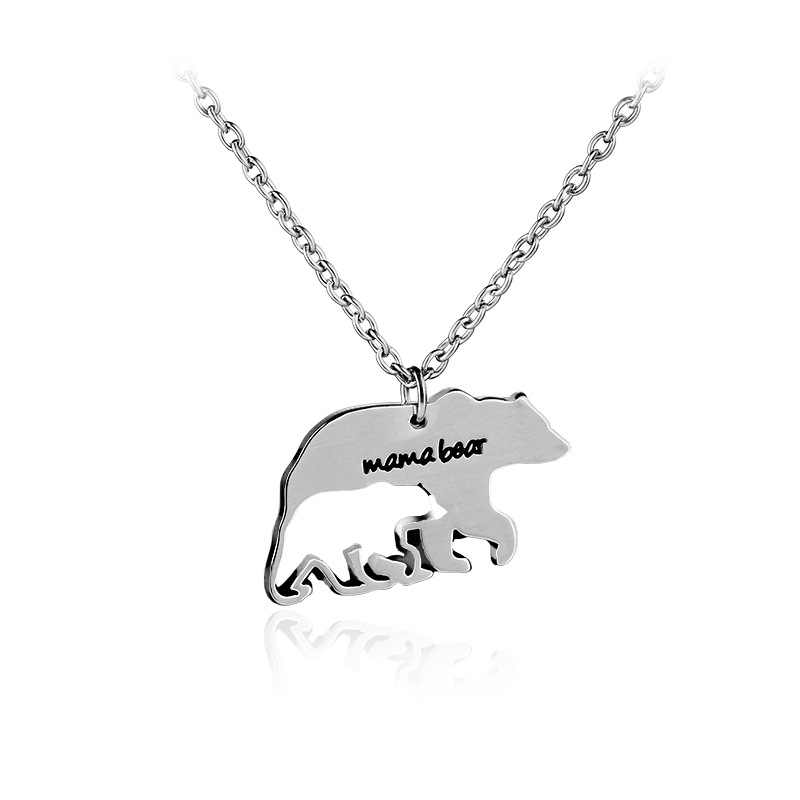 "New Trendy ""Mama Bear"" Charm Women Pendant Necklace Jewelry Bear Mother Hollow Baby Bear Necklace Mother's Day Gift"