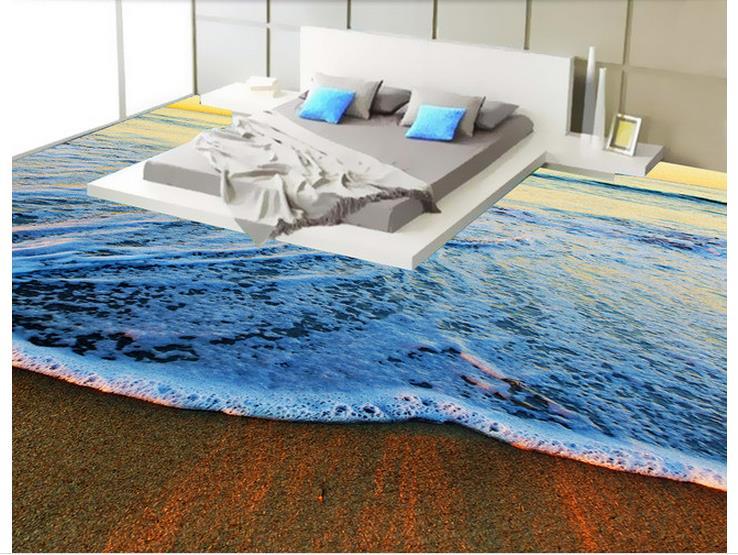 3d floor painting wallpaper waves landscape 3d flooring 3d - Waterproof floor paint for bathrooms ...