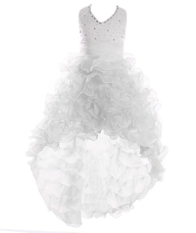 2019 Litter   Girl   A line V Neck Organza Front High Back Low   Dress     Flower     Girl     Dresses   Zipper Back Formal Pageant   Dress