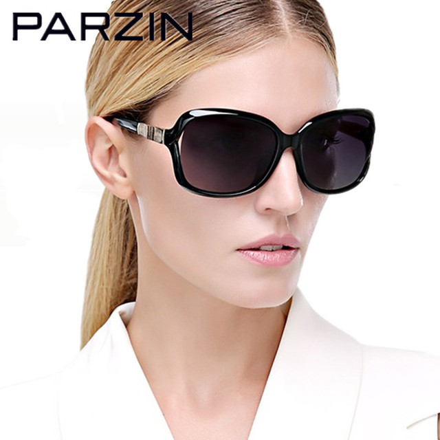 Parzin Polarized Sunglasses Women Bamboo Design Women's  Sun Glasses Fashion Shades Female Driving Glasses Black With Case 9502